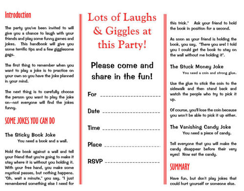 Printable Party Invitations Children S Practical Giggles Joke Party