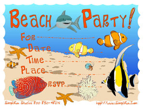 graphic relating to Beach Party Invitations Free Printable named Printable Social gathering Invites - Childrens Backyard garden Seashore Bash