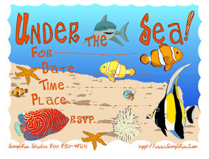 Printable Party Invitations Childrens Under the Sea Party