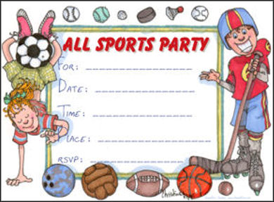 printable party invitations children s all sports party